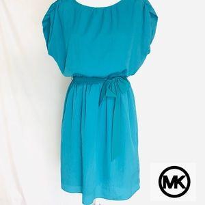 Michael Kors Short Sleeve Waist Plain Blue Dress